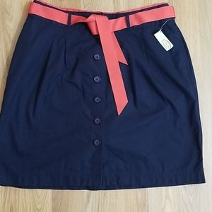 Talbots button front pleated navy blue skirt